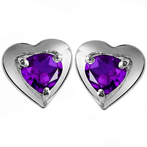 Heart Collection-Amethyst Earrings