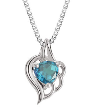 Blue Topaz Heart shape Pendant