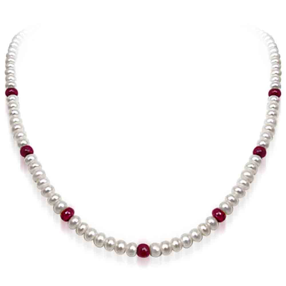Pearl Necklaces-Pearl And Ruby Necklace