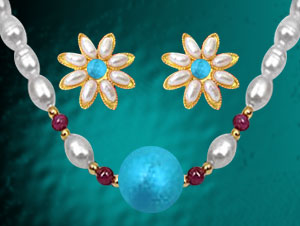 Pearl Sets-Turquoise & Ruby Pearl Necklace with Earrings