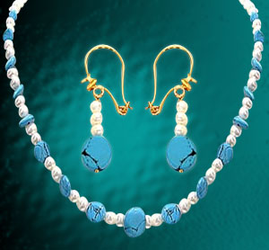 Pearl Sets-Single Line Pearl Necklace with Earrings