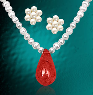 Real Pearl & Red Onyx Bead Necklace with Kudajodi