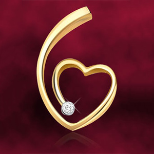 Diamond Pendants-Diamond & Gold Heart Pendant