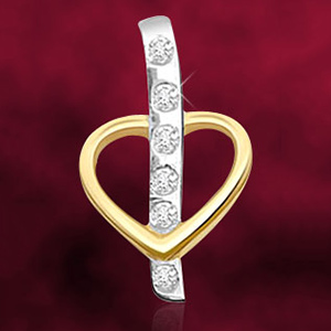Diamond Pendants-Dual Plated Diamond and Gold Heart Pendant