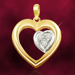Diamond Pendants-Heart Shaped Diamond & Gold Pendant