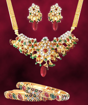 Precious Stone Sets-Traditional Necklace Earring Set with Bangles