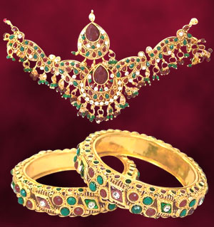 Precious Stone Sets-Traditional Rajasthani Polki Set