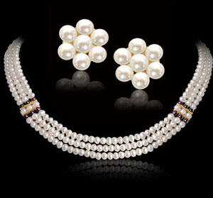 Pearl Sets-3 Line Button Pearl Necklace Set
