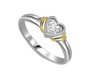 Diamond-Diamond Heart Shape Ring