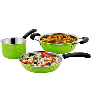 Cookaid Elite Heavy GREEN Stainless Steel Cookware Set - 3 Pcs