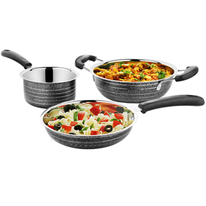 Cookaid Elite Heavy BLACK Stainless Steel Cookware Set - 3 Pcs
