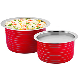 Cookaid Elite Heavy Induction Friendly Patila Set- 2 Pcs RED