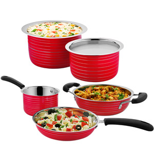 Cookaid Elite Heavy Red Stainless Steel Cookware Set - 5 Pcs