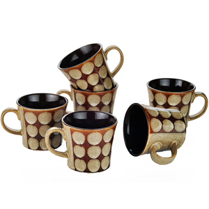 Dorren Crook Circle 6 Pcs Coffee Mugs - Brown