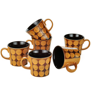 Dorren Crook Circle 6 Pcs Coffee Mugs - Orange
