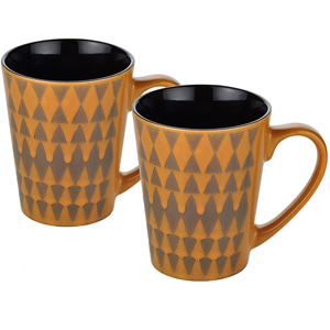 Dorren Crook Studio Designer Mug Set of 2- Orange Geometric Pattern