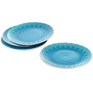 Eudora Embossed Snacks Plate Set of 4 -Blue