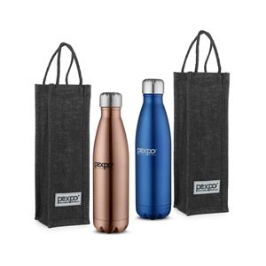Pexpo Ideale Electro Cola Stainless Steel Vacuum Insulated Bottle With Jute Bag 500ml Set of 2 Bottles