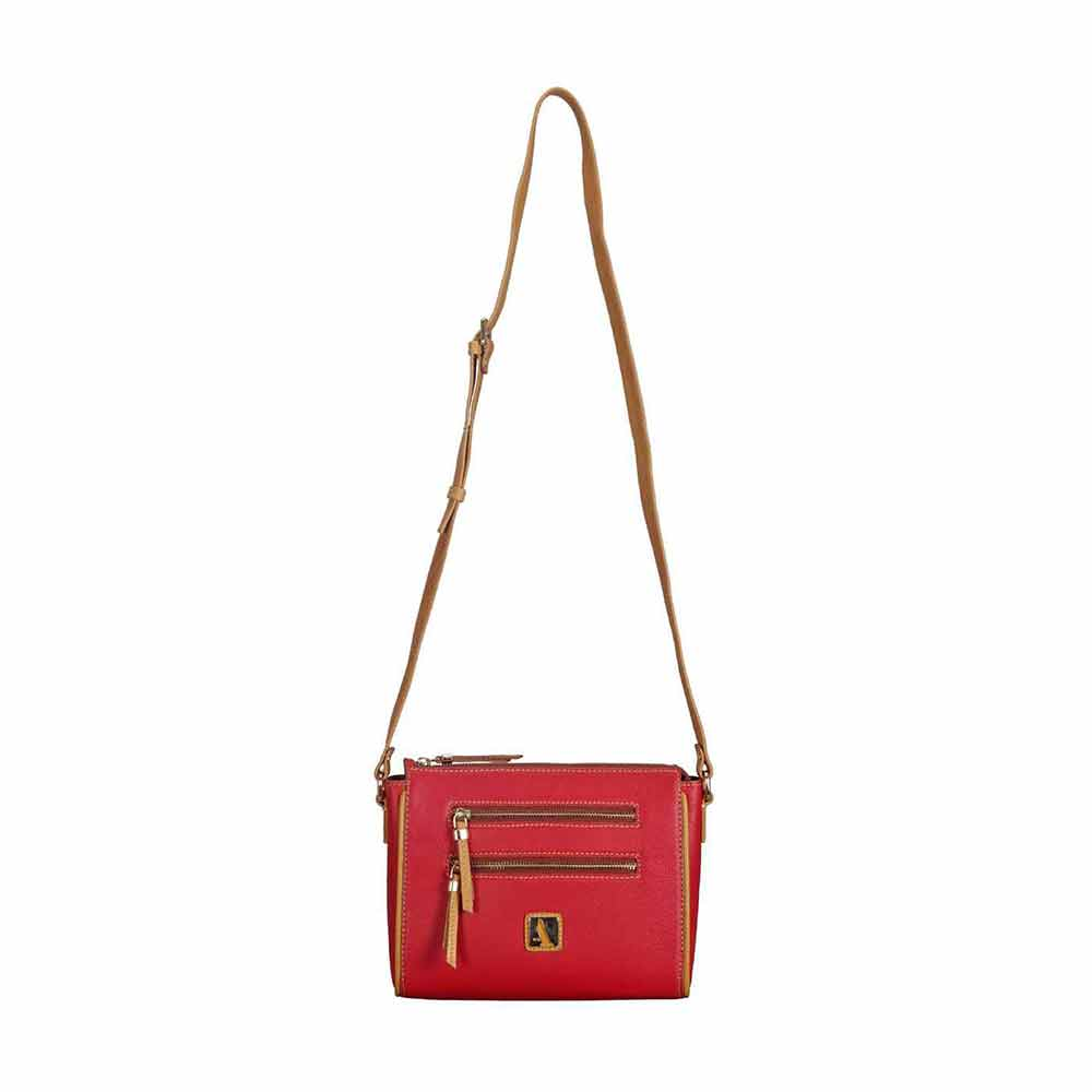 Adamis Red Leather Sling Cross Body Bag