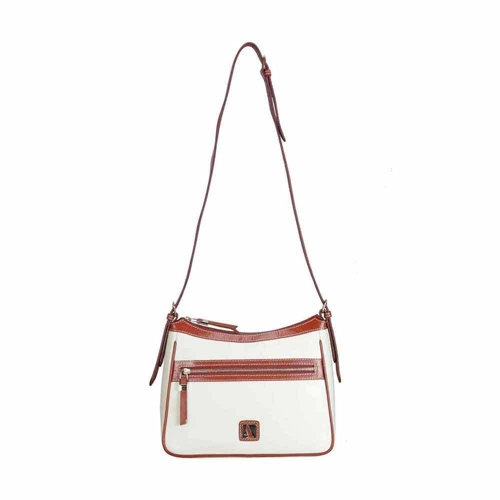 Adamis Offwhite Leather Sling Cross Body Bag