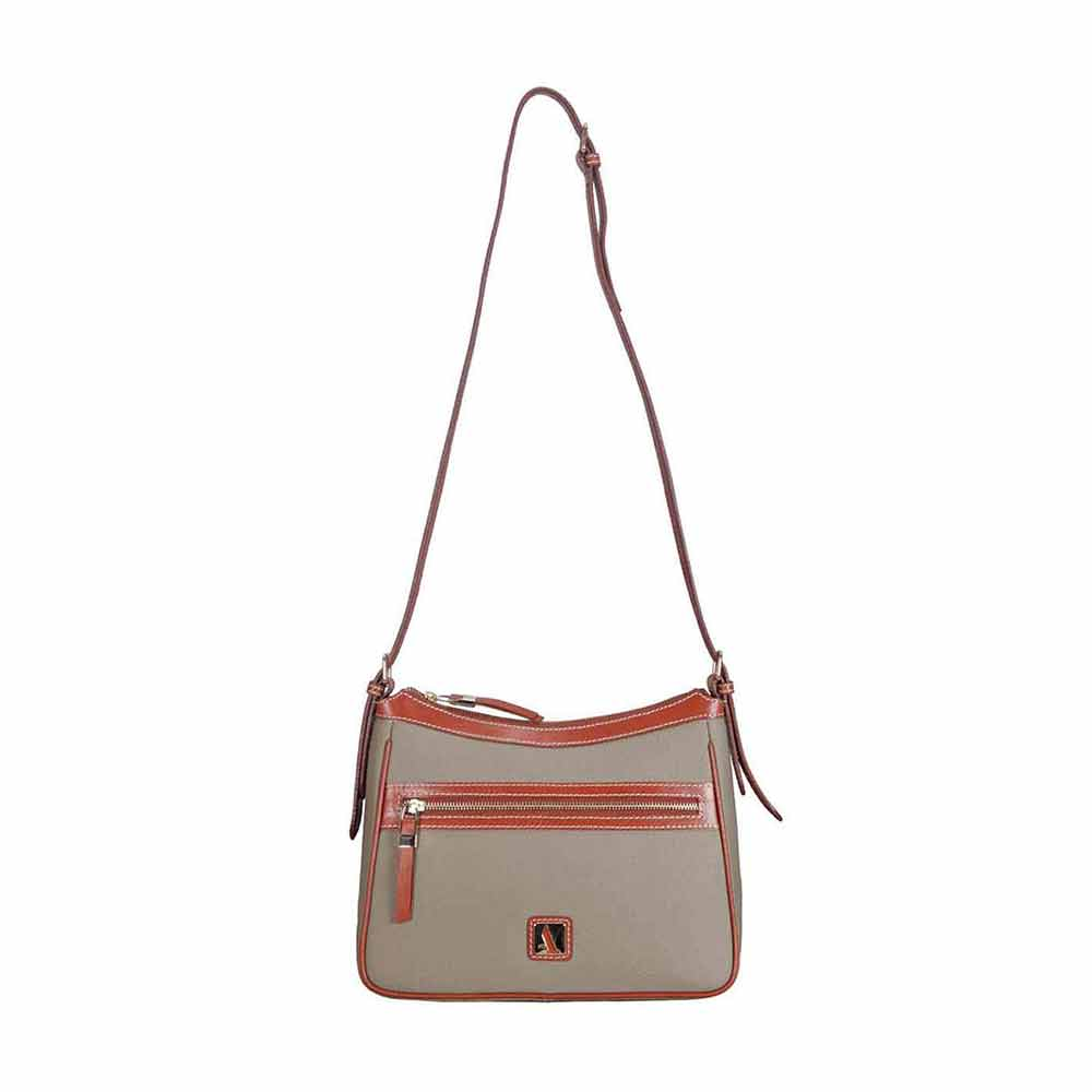Adamis Taupe Leather Sling Cross Body Bag