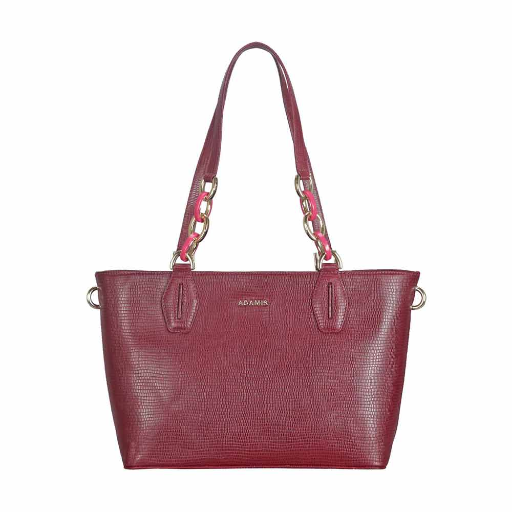 Adamis Leather Wine Shoulder Handbag