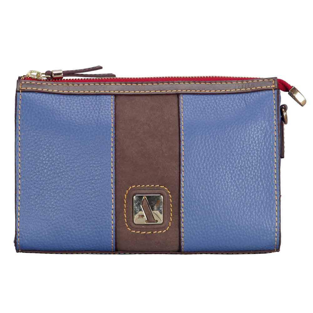 Adamis Blue Leather Sling Cross Body Bag