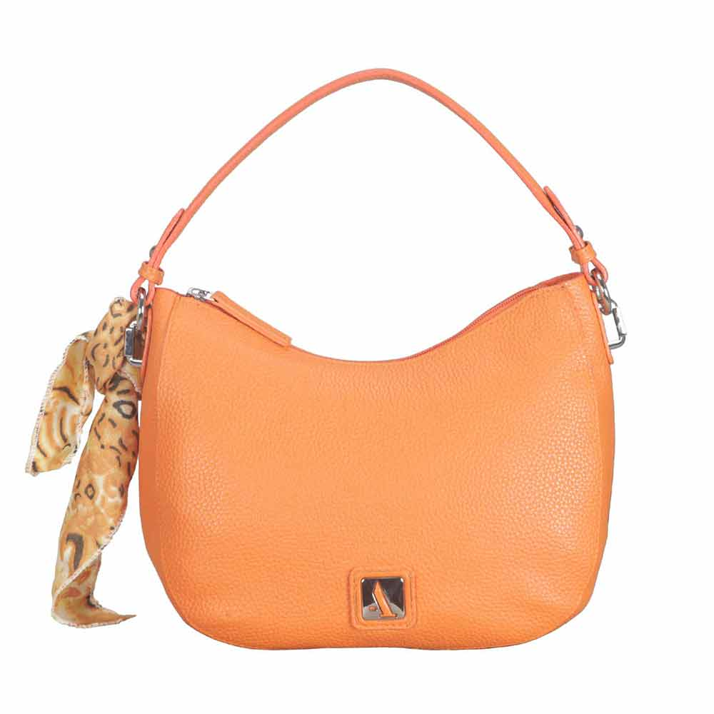 Adamis Leather Orange Shoulder Handbag