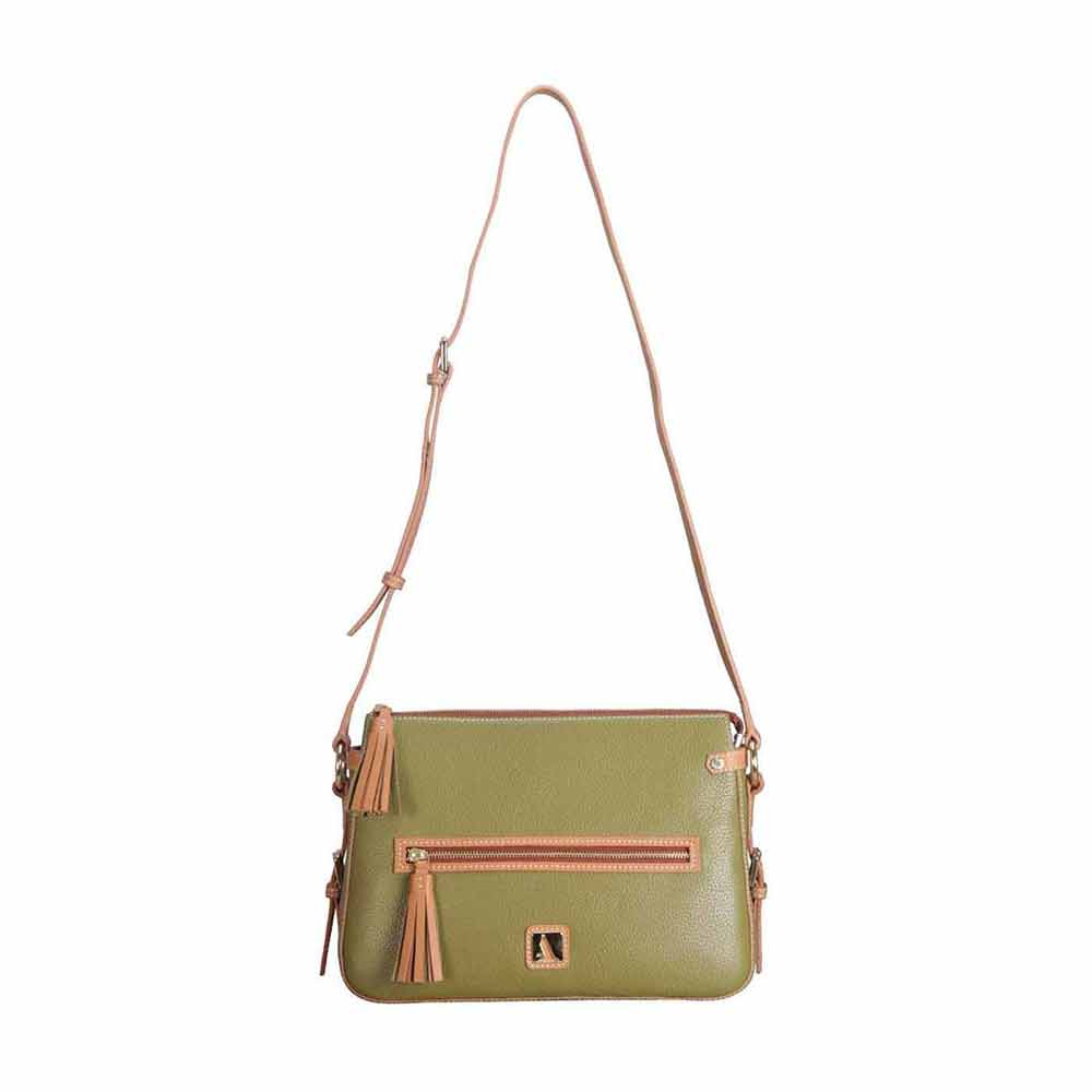 Adamis Green Leather Sling Cross Body Bag