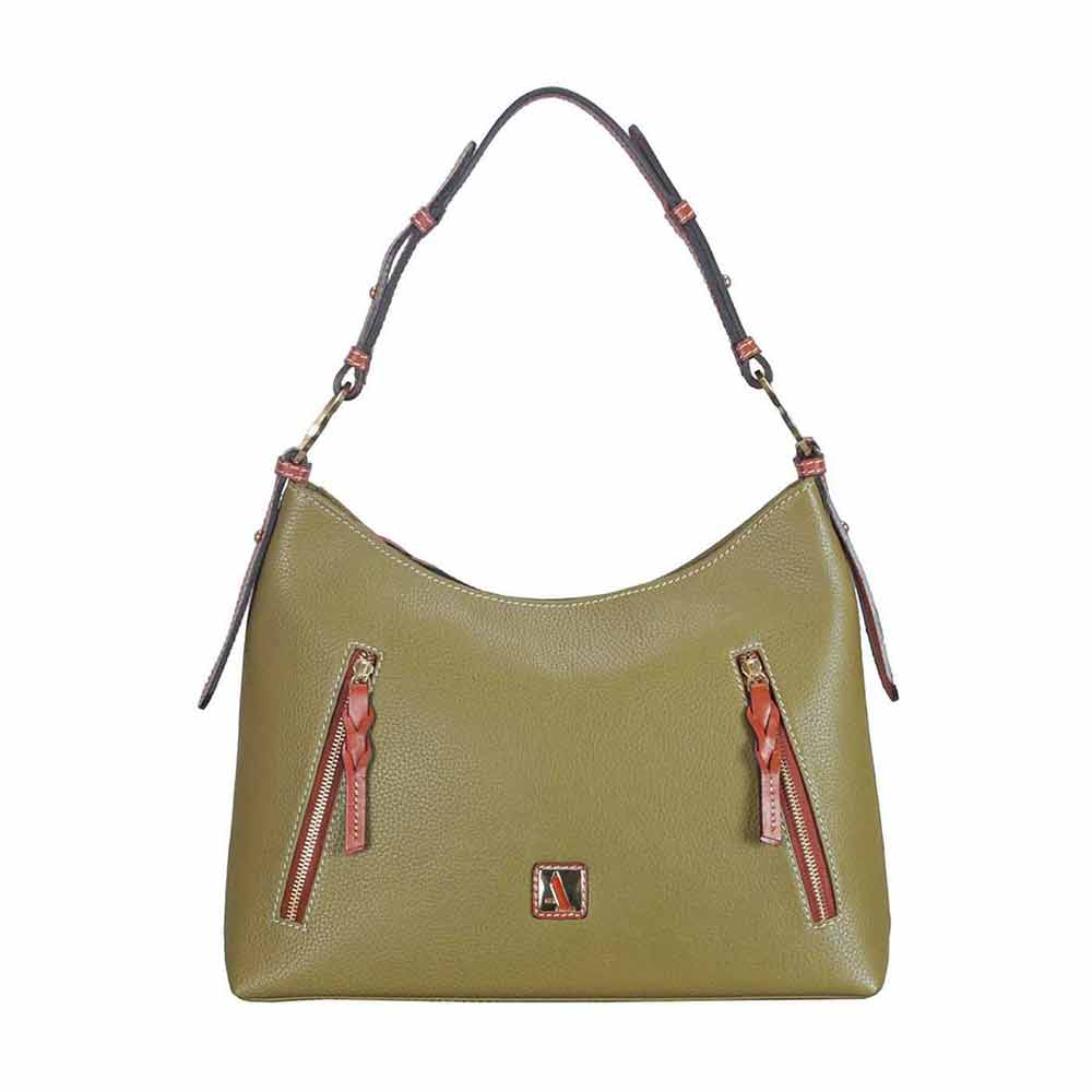 Adamis Green Leather Shoulder Handbag