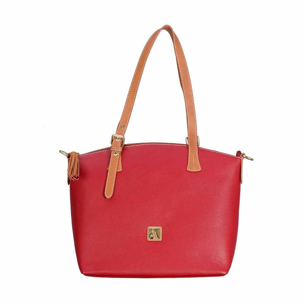 Shoulder Bags-Adamis Red Leather Shoulder Handbag