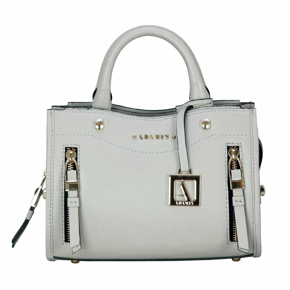 Adamis Grey Leather Sling Cross Body Bag Cum Clutch