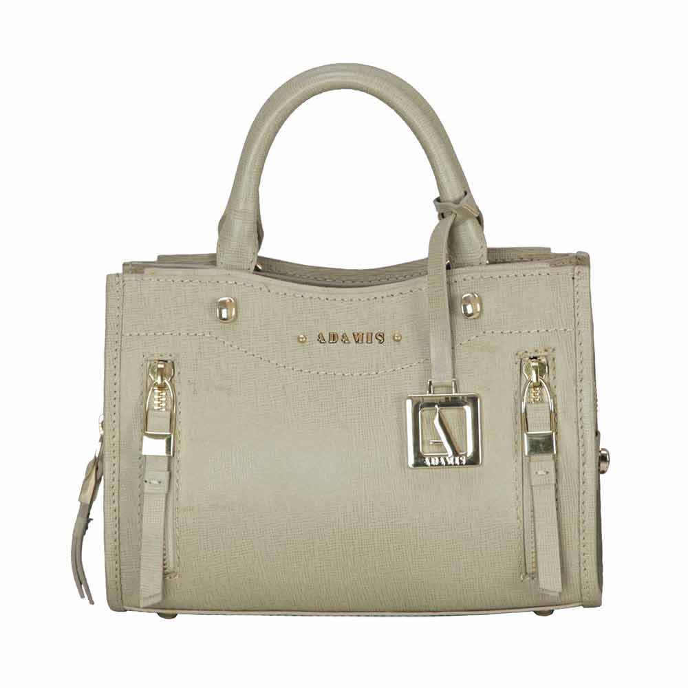Adamis Taupe Leather Sling Cross Body Bag Cum Clutch