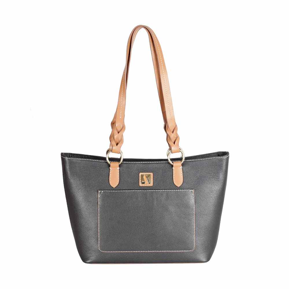 Adamis Black Leather Shoulder Handbag