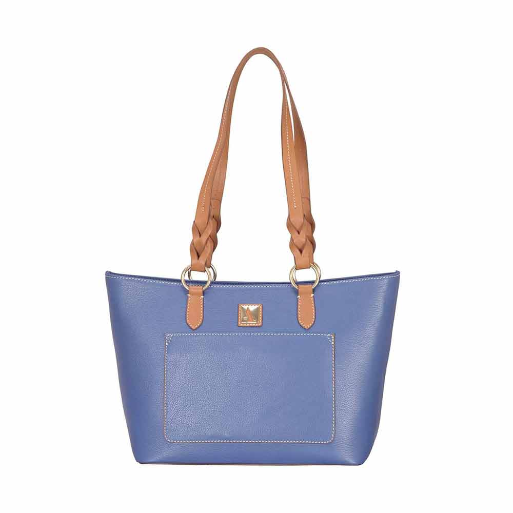 Adamis Blue Leather Shoulder Handbag