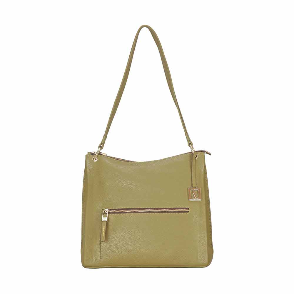 Shoulder Bags-Adamis Green Leather Shoulder Handbag