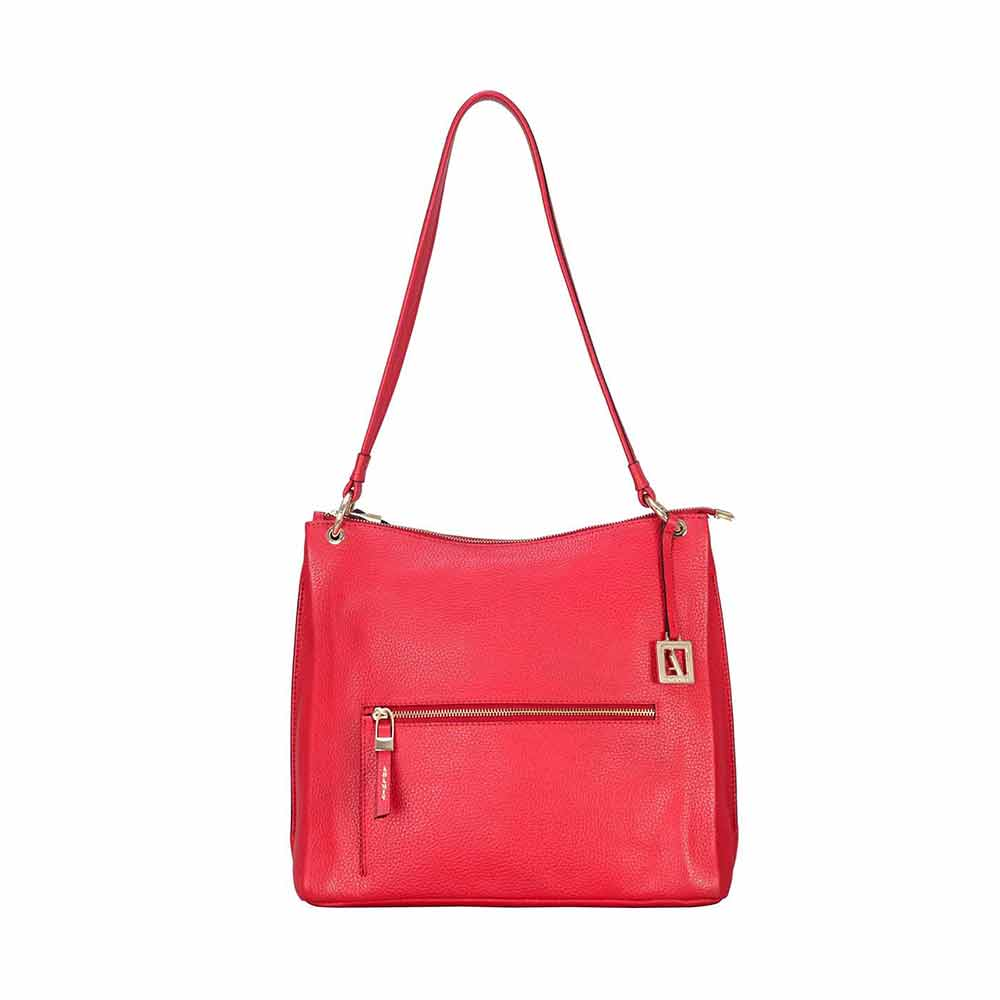 Adamis Red Leather Shoulder Handbag
