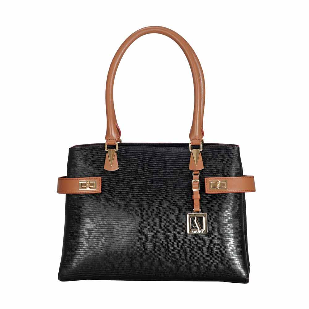 Shoulder Bags-Adamis Black Leather Shoulder Handbag
