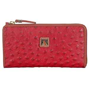 Ladies Wallet-Adamis Red Leather Womens Wallet