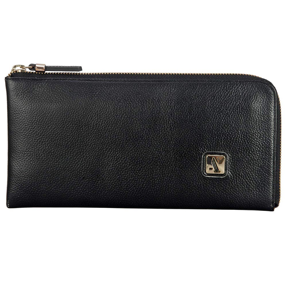 Adamis Black Leather Womens Wallet