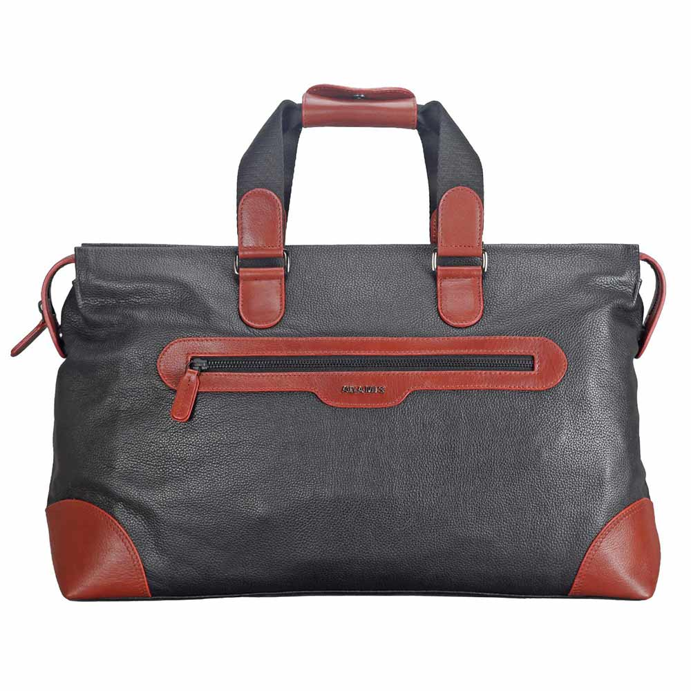 Adamis Black Leather Travel Cabin Lugguage Bag