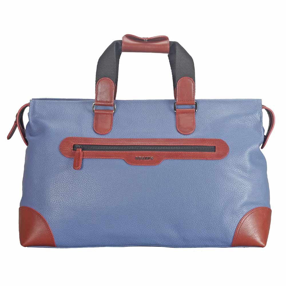 Adamis Blue Leather Travel Cabin Lugguage Bag