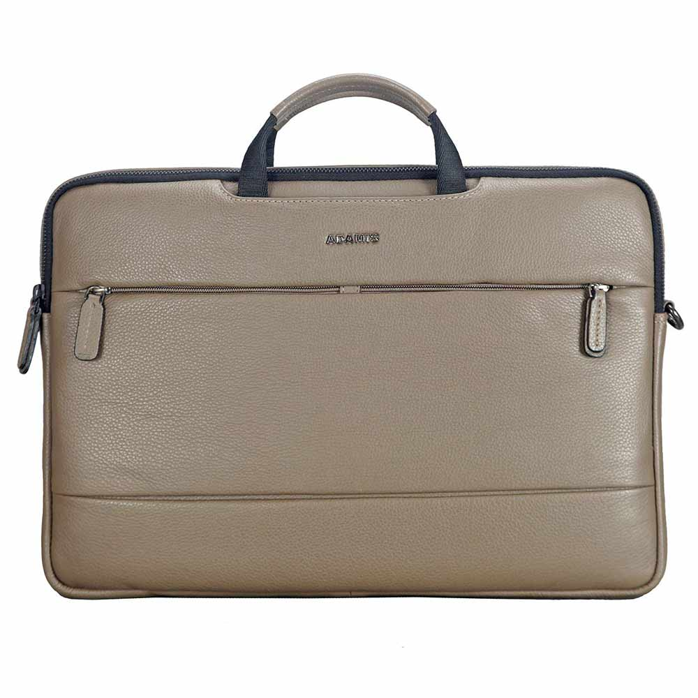 Office Bags-Adamis Khaki Leather Men's Portfolio Cum Office Bag