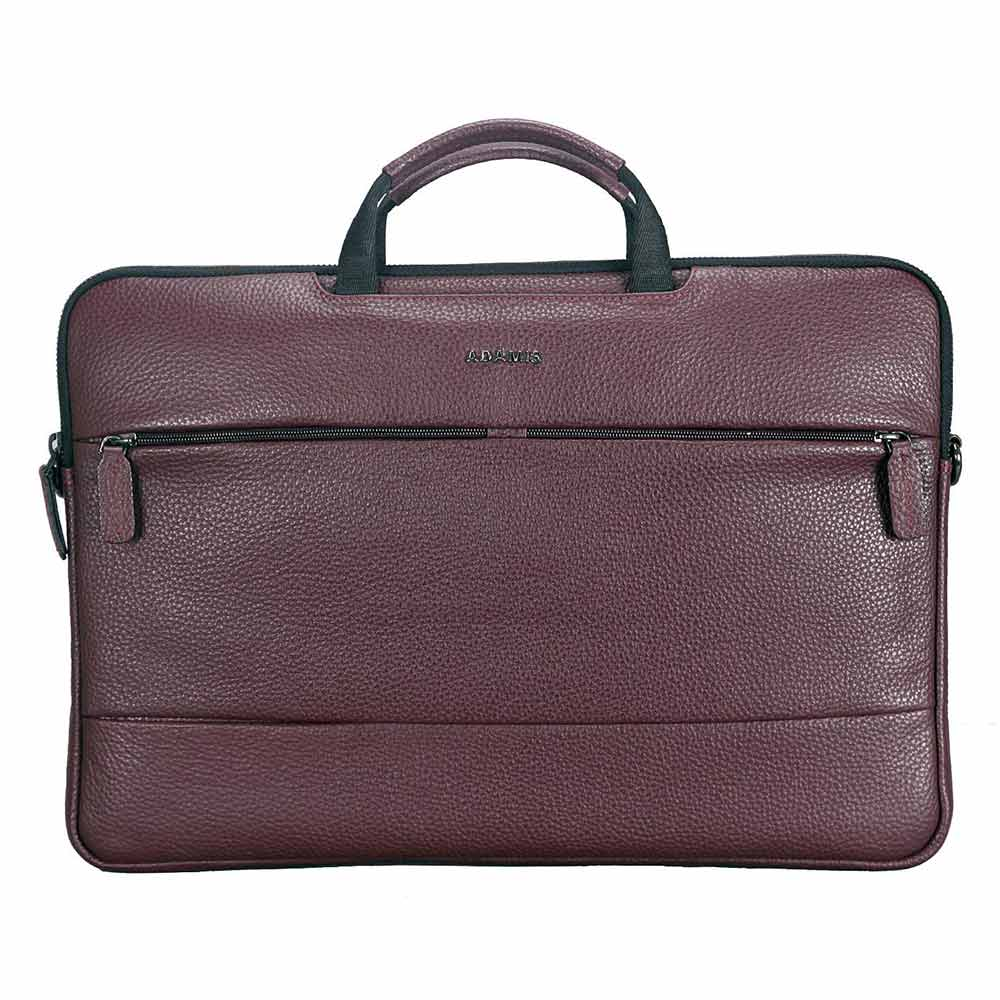 Adamis Wine Leather Men's Portfolio Cum Office Bag