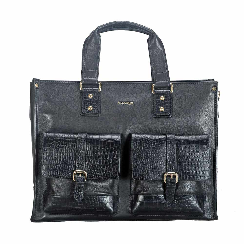 Adamis Black Leather Men's Portfolio Cum Office Bag