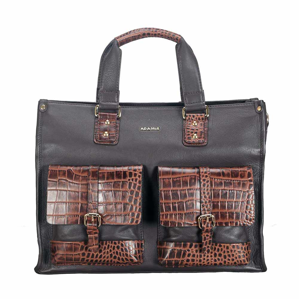 Adamis Brown Leather Men's Portfolio Cum Office Bag