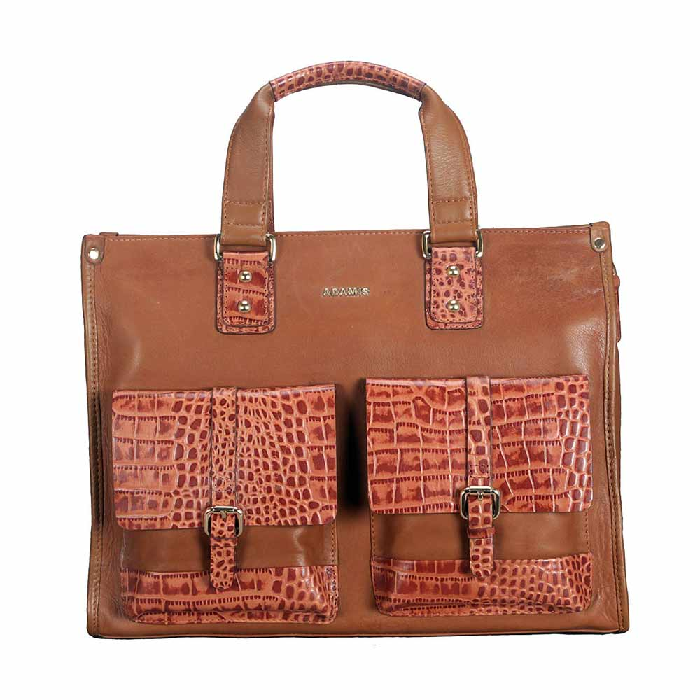 Adamis Tan Leather Men's Portfolio Cum Office Bag