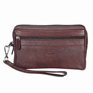 Travel Accessories-Adamis Brown leather Gents pouches