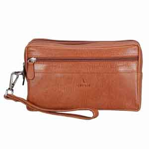 Travel Accessories-Adamis Tan leather Gents pouches