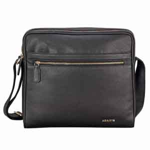 Travel Accessories-Adamis Black leather Gents pouches